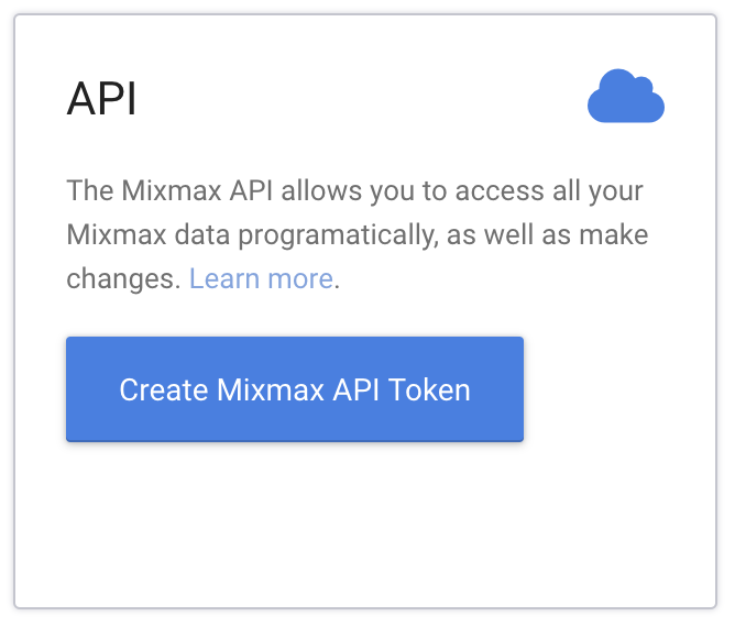 """The """"API"""" integration in the Mixmax dashboard"""