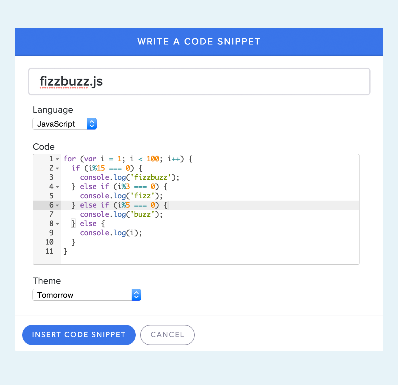 Insert code snippet into email