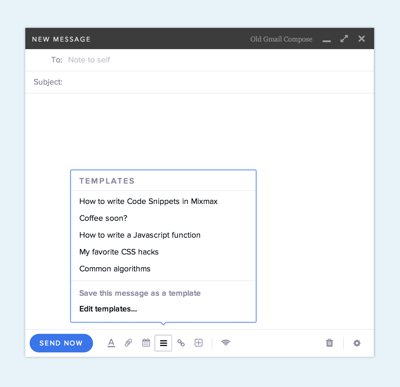 Code snippet as a template in email