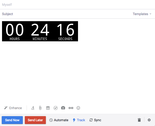 Countdown timer in the compose window