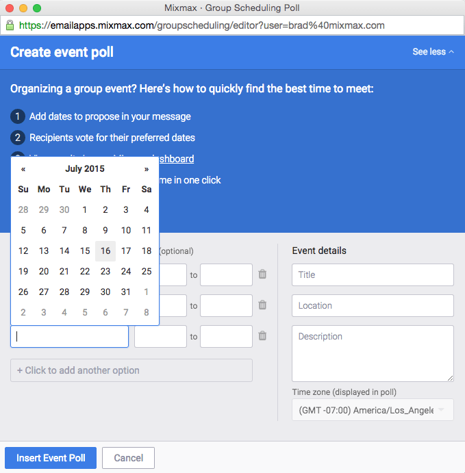 Effortless group scheduling with event polls