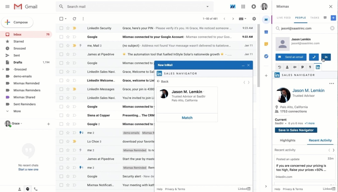 Send LinkedIn InMail & Connection requests from Gmail
