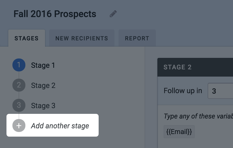 Add stage to a sequence