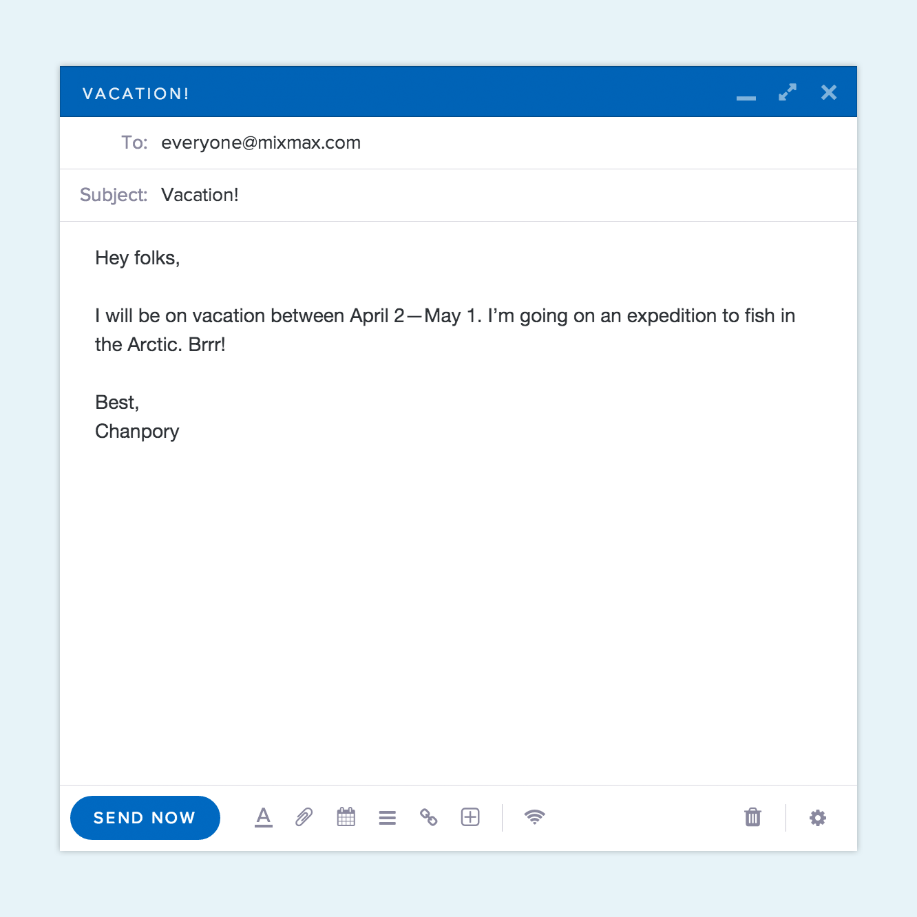 Short email example with body
