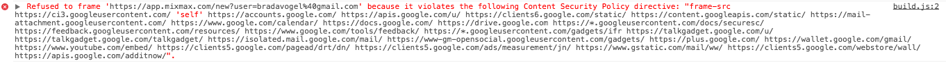 Chrome web inspector image of Content Security Policy error