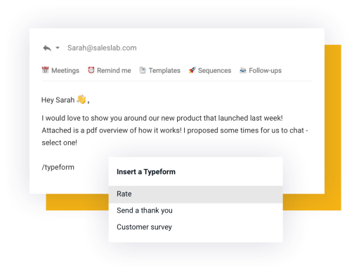 Easily insert forms and surveys into your email
